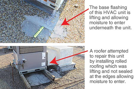 Flat Roof Leaks At Hvac Units On Commercial Roofs In